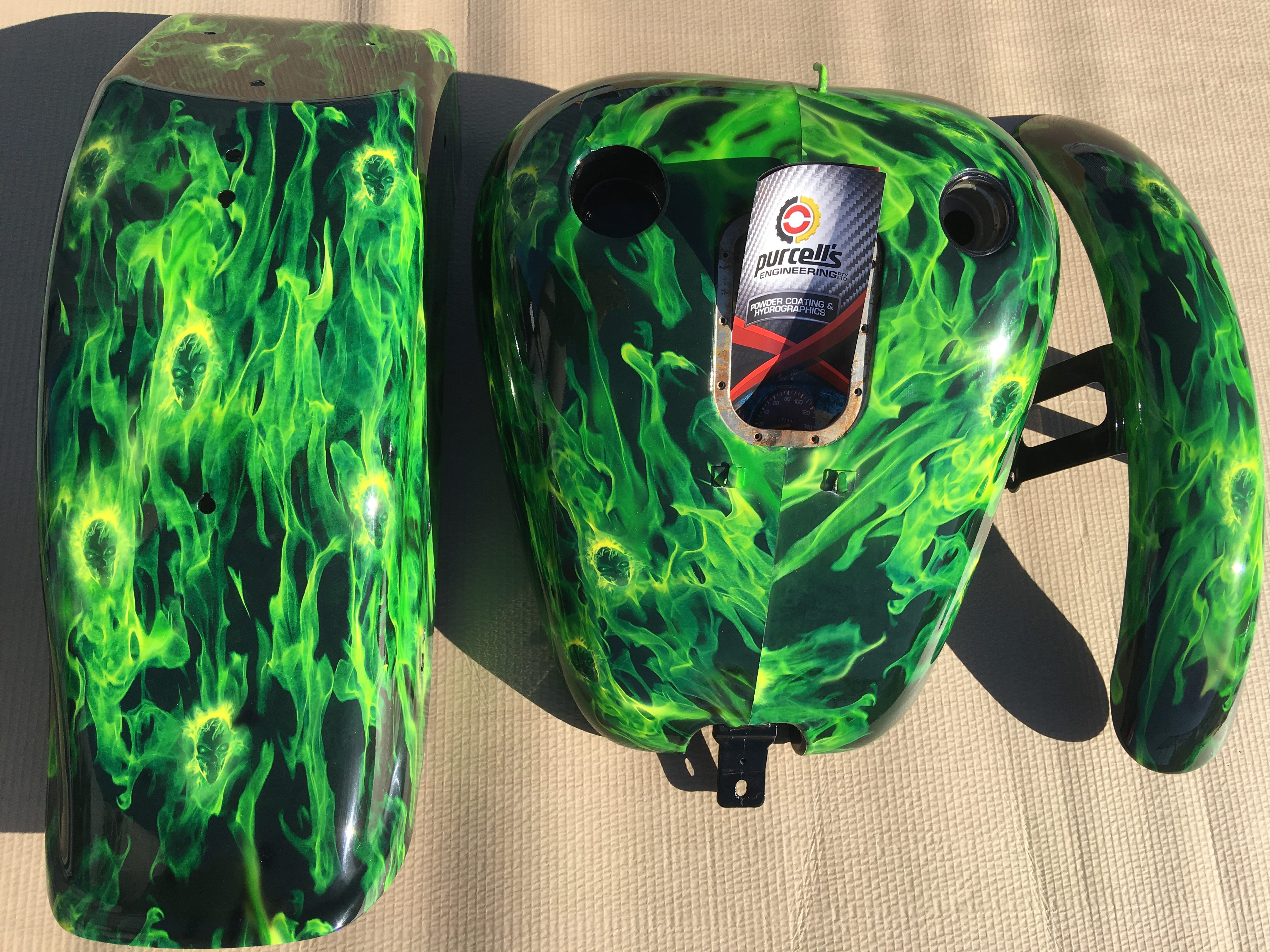 Harley Parts - Green Skulls & Flames