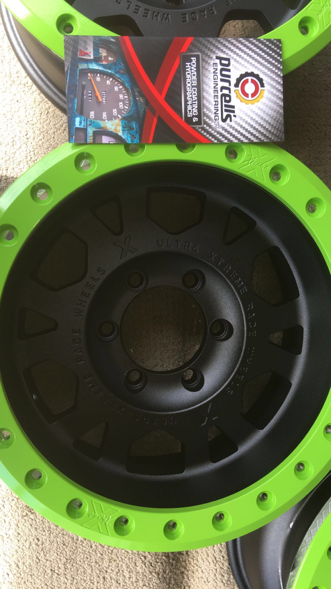 Comp Truck Rims - Green Rings & Textured Black